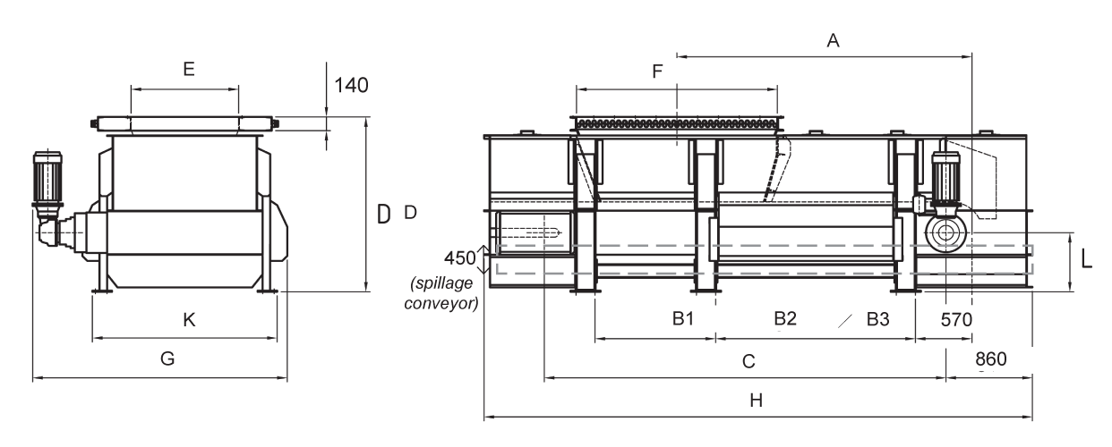 Dimensions for apron extractor weigh feeder /// Mammuthus
